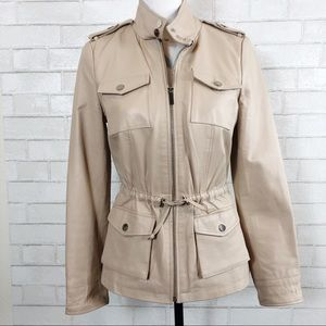 BEBE Nude Tan Leather Utility Anorak Jacket New!